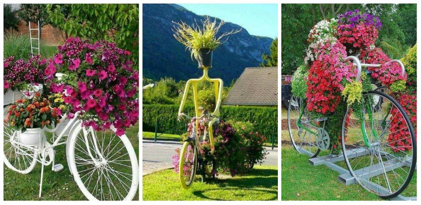 Idei minunate de a transforma bicicletele vechi in decoratiuni inedite pentru gradina